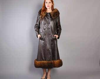 60s Mod LEATHER COAT with FUR / Double Breasted Brown Jacket with Fluffy Collar & Hem