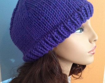 Purple Knit Hat with Cuff
