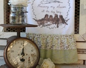 """Flour Sack Kitchen Towel... Farmhouse Cottage Chic Country Style Ruffle Scripture..... """"This is my Story, This is my Song"""" Birds, Faith"""