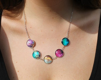 Rainbow Galaxy Nebula Necklace - Solar system galaxies pendant - Glass Dome Statement Necklace