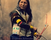 Shout At, Professionally Restored Canvas Wrap of Vintage Native American Oglala Sioux Photograph by Herman Heyn