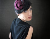 Burgundy Felt Headband Fascinator with Feathers - Helix Series - Winter Fashion - Made to Order