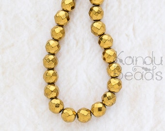 """Gold Titanium Plated Hematite faceted round Beads 4mm 15"""" Strand"""