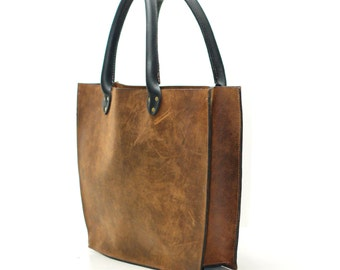Large Leather Tote Bag - Equestrian Two Tone Shopping Bucket Bag