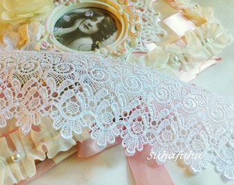"WHITE Vintage Inspired Victorian Venise Bridal Lace Trim 1 yd x 2.5 "" wide"