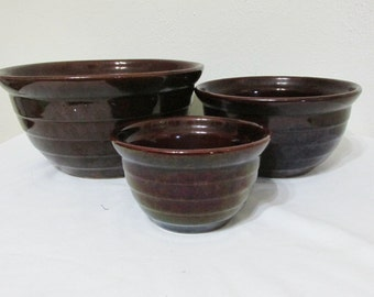 Nesting Mixing Bowls Set of 3 Brown Stoneware 1930s