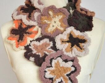 Floral Lolipop - Coffee - Crochet Multicolor Flower Scarf