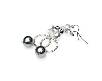 Long Dangle Earrings Pearl Earrings Gray Earrings Hoop Earrings Pewter Earrings Silver Earrings Elegant Contemporary Classic Style Mei Faith