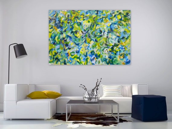 Large Original Abstract Painting Modern Impressionism green blue yellow white - Nature's Symphony by Jessica Torrant - Free US Shipping
