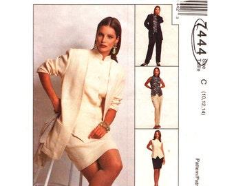 Boxy Jacket, Vest Top, Skirt, Pants Pattern McCalls 7444 Suit Trousers Womens Size 10 12 14 Sewing Pattern UNCUT