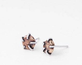 Ore Studs, Prong Set Brass and Sterling Silver Post Earrings, Minimal Rustic Design