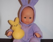 "Purple Fleece Sleeper Bunting with Stuffed Bunny for 12"" Corolle Mon Premiere Baby dolls"