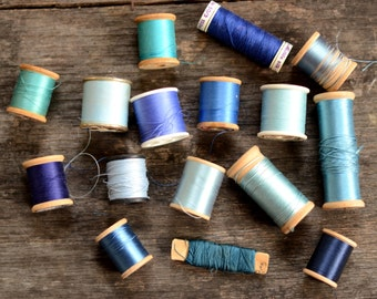 Vintage Thread Lot - Blue Collection (16 pcs)