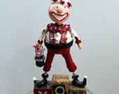 Valentine Holiday Boy Pixie Collectible Folk Art Doll