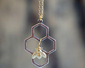 Honey Bee Honeycomb Necklace Beekeeper  BEE Beehive Busy Bee