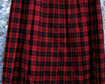 size 10 PUNK Rock Red Black skirt American made All Wool skirt by designer Evan Picone