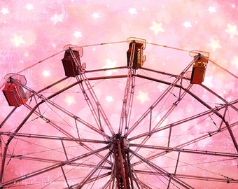 Pink Carnival Prints, Pink Ferris Wheel Prints, Baby Girl Nursery Room Decor, Carnival Art, Girl's Room Nursery Decor, Carnival Photography