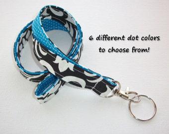 Lanyard  ID Badge Holder - Lobster clasp and key ring - design your own - black damask -  blue pin dots - two toned double sided