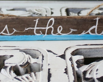 Hand Painted Driftwood Sign ' Seas the Day ' Coastal / Beach cottage Home Decor , gift for Shore Lover