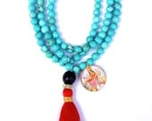 Durga Mala, 108 turquoise Mala with red tassel, Yoga Necklace, Power necklace, Hindu Goddess Necklace, Tassel necklace, healing jewelry