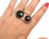 Polka Dot Porthole Ring (OOAK 3D printed ring with enamel)