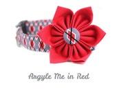 Girly Dog Collar Flower Set - Argyle Me in Red