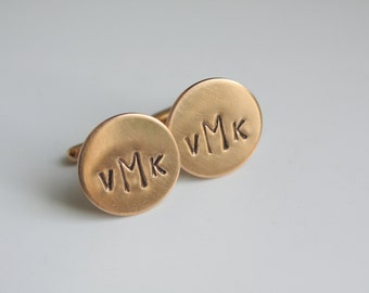 Personalized Rose Gold Cuff Links Cufflinks- Custom Monogram for Groom or Groomsmen Dad or Grandfather