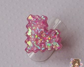 Deep Pink Glitter Pixel 8bit Heart Adjustable Resin Ring Cute Kawaii Geeky