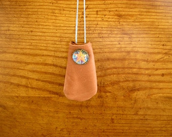 "Five Point Star, Honey leather medicine bag with a glass charm, 40"" long beaded, adjustable hemp neck cord, pouch is 2.5"" x 1.5"", handmade"