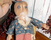 Primitive Americana Uncle Sam Folk Art Doll   HAFAIR HCA