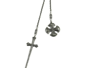 Medieval Inspired Lionheart and Maltese Cross Lariat Necklace - Antiqued Silver Plated Sword and Medallion