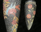 Wall Sconce/ Wall Pocket  Bird & Flowers ~Two Gorgeous Painted Wall Vases ~Japan
