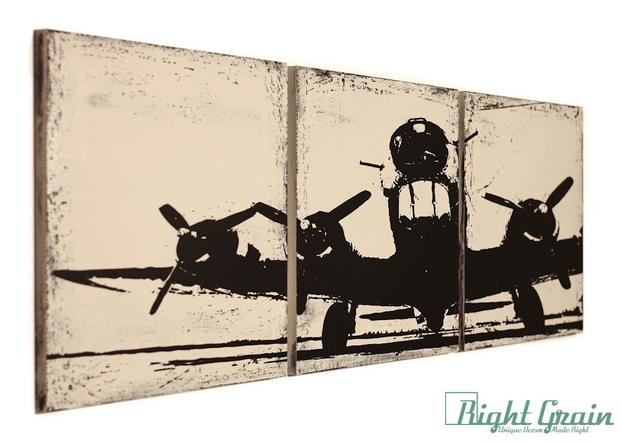 Vintage Aviation Wall Decor : Vintage airplane artwork custom made wall art by