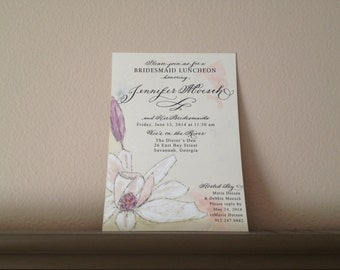 "Calligraphy Invitation Love No. 033 ""Magnolia"" for Bridal Shower, Baby Shower, Rehearsal Dinner, Bridesmaids luncheon or Wedding Invitation"