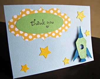 Rocket Party Thank You Cards, Rocket Party, Rocket Birthday Party, Rocket Thank You, Outer Space Thank You Card, Space Party, Set of 10