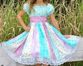 Aqua Blue & Lavender Stripwork Ruffle Dress with Lace Trim for Girls - Spring - Easter - Birthday - Party - Celebration - Special Occasion