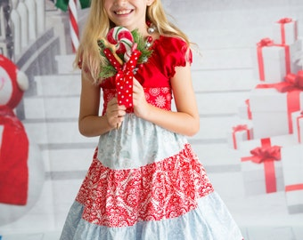 "Festive ""Christmas Snowflakes"" Ruffle Peasant Dress - Girls - Red & Grey - Damask - Lace Trim - Photos - Party - Celebration - Holiday"
