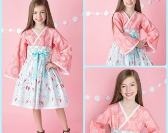 Coral & Turquoise Blue Kimono-style Dress for Girls - Unique - Japanese - Birthday - Party - Special Occasion - Costume - Spring - Culture