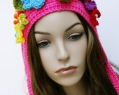 SALE Spring Flower Hat Pixie Womens Crochet Hat Earflap Hat Woodland Elf Hat Gnome Helmet Pointy Hood with Flowers Hot Pink Multicolor