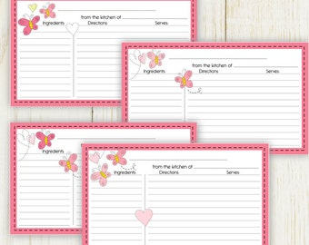 Butterfly Love Recipe Cards Lined 3X5 No 824 - instant download Digital files