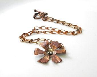 Copper flower neckace,copper chain, silver embellishments, toggle clasp, handcrafted floral, blossom, rustic, nature SilverStonesConcepts