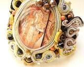 black gold soutache bracelet , swarovski coral cuff , gold soutache charm bracelet , Mucha art Bracelet , black swarovski crystal cuff