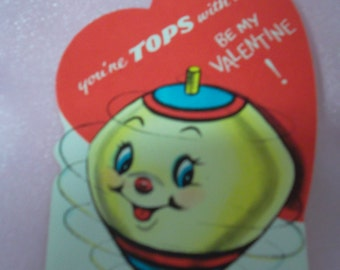 Vintage 1970's Novelty Spinning Top Valentine's Day Card