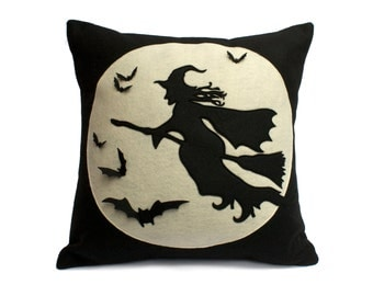 Halloween Witch Pillow Cover - Flight of The Witch - Full Moon Series 18 inch Pillow Cover