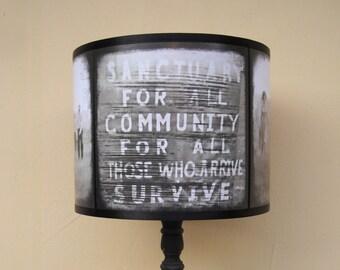 Zombie Apocalypse lamp shade lampshade - The Walking Dead, lighting, halloween decor,geek,dark art, zombies, horror, Spooky Shades, terminus
