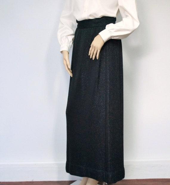vintage sparkle skirt maxi black pencil by