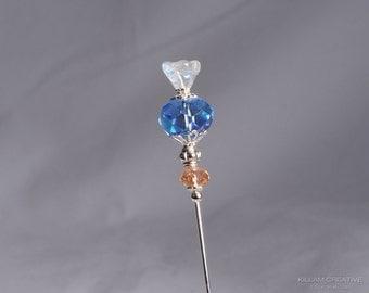 Salmon and Blue Stick Pin, 3 Inch Scarf Pin, Hat Pin, Lapel Pin, KC0505