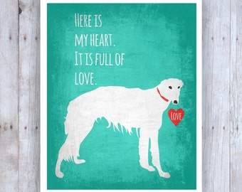 Russian Wolfhound Art, Dog Decor, Russian Wolfhound Print, My Heart is Full of Love Poster, Dog Theme, Love Print, Romantic Art Print