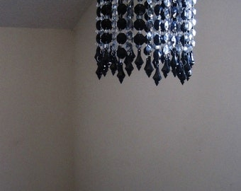 Sex And the City Flush Mount Sleek Platinum and Black Chandelier MADE TO ORDER