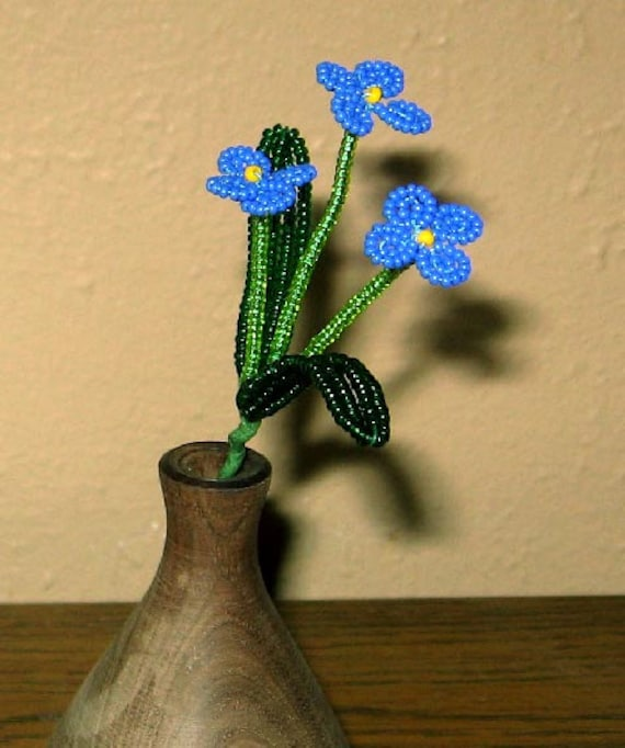 Forget-me-not Sprig - French Beaded Flower